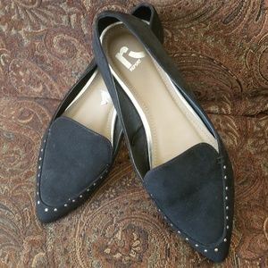 Report Black Faux Suede Flats W/Gold Stud Detail